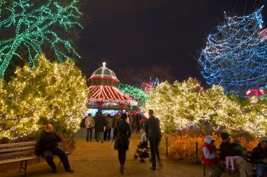 Lincoln Park Zoo will turn on its annual holiday lights on Friday, the same day it debuts its seasonal ice skating rink. Here, visitors check out the zoo's lights during the 2012 season.