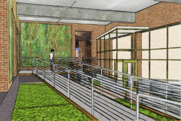 A crowd-funding effort would create a brand new entryway at the green food production facility.