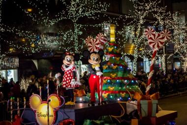 mickey and minnie mouse preside over the start of the holiday season saturday at the magnificent