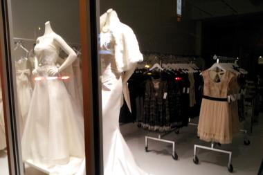 The display window of Palazzo, a bridal salon at 1872 N. Damen Ave. in Bucktown.