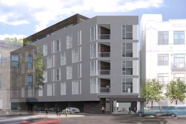 "Developer Mark Sutherland has applied for a Transit-Oriented Development and hopes to build a six-story 45-unit apartment building at 1515-17 W. Haddon Ave. in West Town's East Village neughborhood just south of the CTA Division Blue Line ""L"" station."