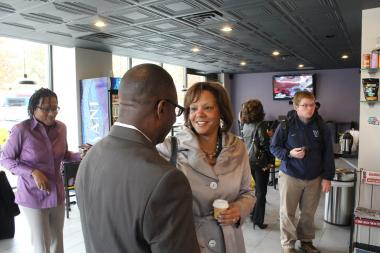 U.S. Rep. Robin Kelly (D-Chicago) made her first trip to Hyde Park Monday since she took office in April, filling the seat vacated by Jesse Jackson Jr.