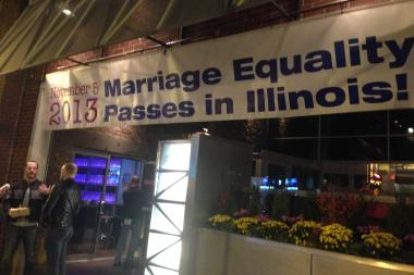 Sidetrack, a bar at 3349 N. Halsted St., had a banner all ready to go — all except for the date. It went up Tuesday evening as the bar awaited marriage advocates to come back from Springfield.