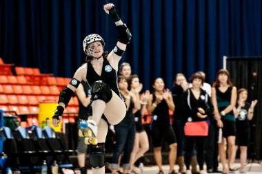 Ska Face (aka Mo Pylinski) is a jammer on the Fury, part of the Windy City Rollers roller derby team.