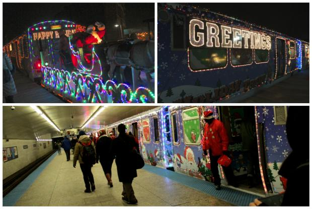 "The CTA Blue Line ""L"" Holiday Train rolled through Wicker Park Thursday."