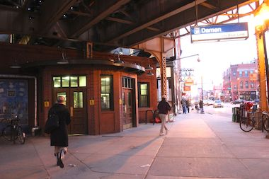 "The CTA Blue Line Damen ""L"" station, 1588 N. Damen Ave."