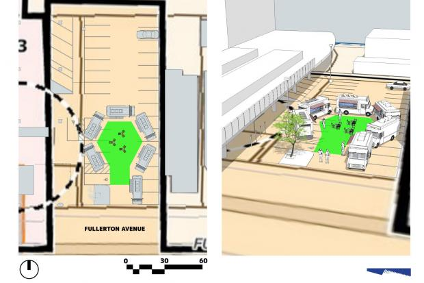 "Lincoln Park-based architect William Huchting and builder Jim Gramata have proposed a plan to turn half of a DePaul University-owned parking lot adjacent to the Fullerton ""L"" stop into an area for food trucks."