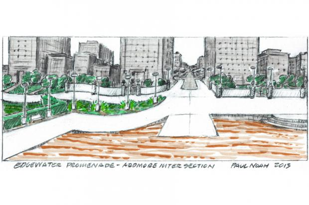 Artist Paul Noah created conceptual drawings of a lakefront promenade along Edgewater's lakefront.