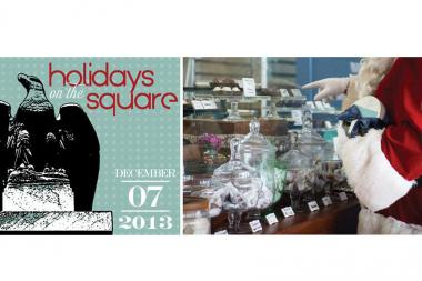 The Holidays on the Square logo alongside a promotional image by Amy Boyle.
