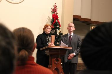 South East Lake View Neighbors President Jan Sumrall and Ald. Tom Tunney (44th) at December 2013's SELVN meeting