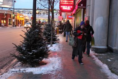 Central Lakeview Merchants Association lined Lakeview streets with Christmas trees in 2013. Here, trees are tied to poles near the Belmont