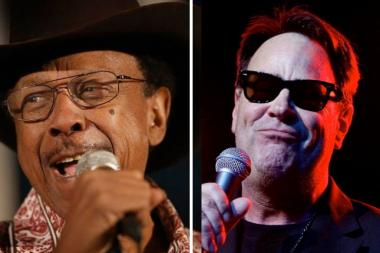 Entertainer Dan Aykroyd, right, is hosting a celebration for Chicago bluesman Lonnie Brooks' 80th birthday Saturday.