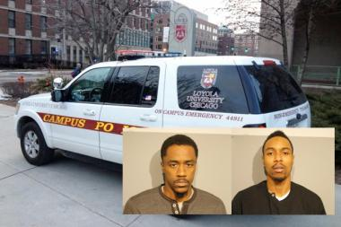 Rodrick Moore, left inset, and Martell Howze, right, are accused of holding up a pair of Aramark employees on Loyola University's campus.