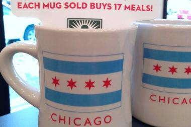 Neighborly is donating proceeds from sales of Chicago-flag mugs to the Greater Chicago Food Depository.