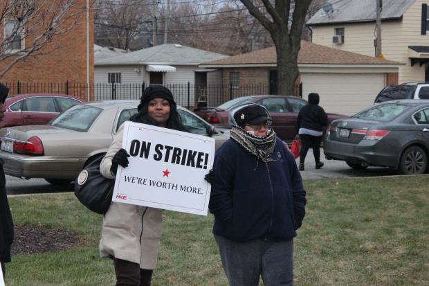Employees at a South Side McDonald's restaurant participated national a one-day strike by fast-food workers, who are urging employers to pay them a minimum of $15 per hour.
