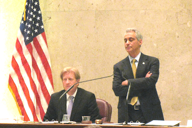 Corporation Counsel Stephen Patton and Mayor Rahm Emanuel listen to alderman discuss the revised parking meter lease before its passage last spring.