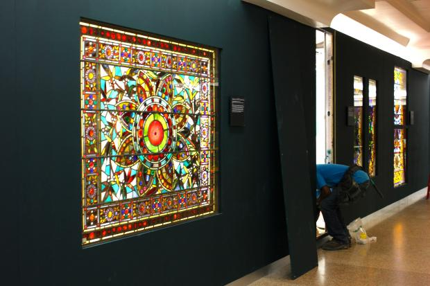 More than 20 multicolored glass window displays were installed next to Macy's under Wabash Street near Randolph Street.