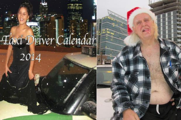 Chicago cab drivers are showing some skin and striking raunchy poses in a pinup calendar to raise money to fund a lawsuit against the city.
