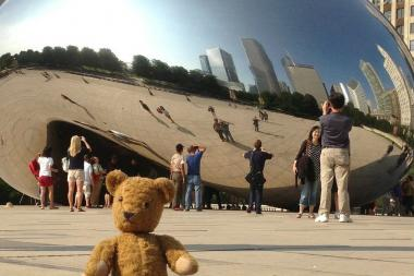 Stephen Spargur's Chicago Teddy Bear Tours photographs customers' teddy bears at Chicago's top tourist destinations.
