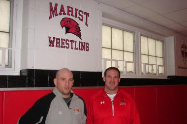 Twin brothers Pat (l.) and Brendan Heffernan both wrestled at Marist High School in Mount Greenwood. They will face each other as rival coaches in a four-team tournament on Saturday.