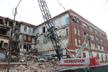 Demolition has started at the old Wrigley gum factory at 35th Street and Ashland Avenue.