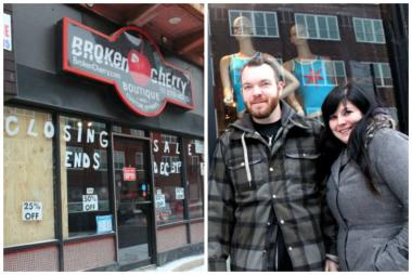 Broken Cherry closed its storefront at 1736 W. North Ave. permanently Thursday, but owner Remey Rozin and boyfriend Fry have started a new venture, 4 Star T-Shirt Bar, at 1734 W. North Ave.
