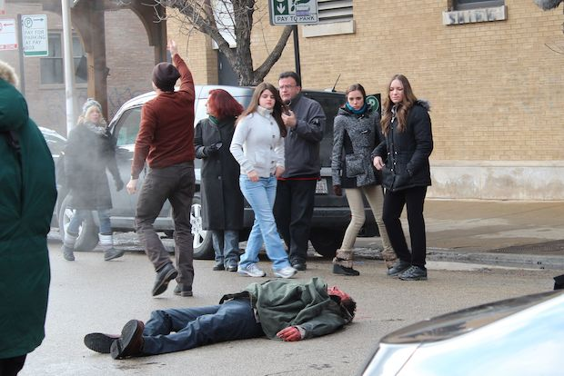 """Chicago PD"" filmed in Wicker Park Monday."