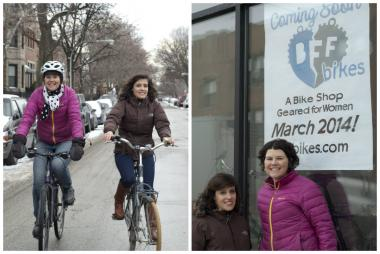 Annie Byrne (pink jacket) and Vanessa Buccella, are co-owners of BFF Bikes, which is scheduled to open in March at 2113 W. Armitage Ave. in Bucktown.