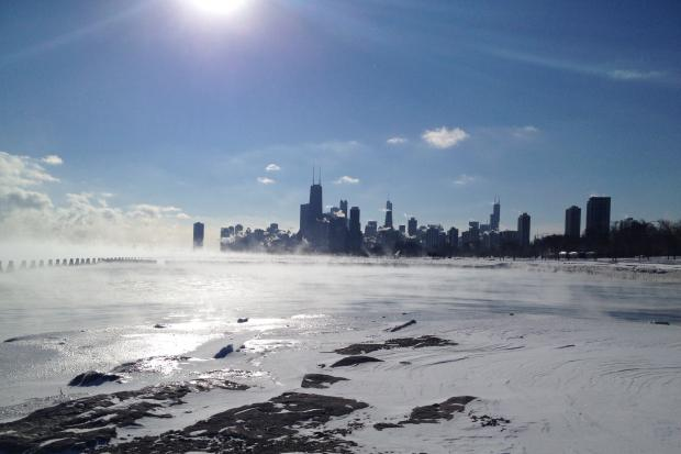 A view of the very cold city from the lakefront at Fullerton