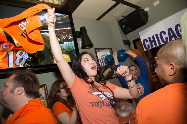 Members of the Chicago Bronco Nation fan club are pumped to watch their favorite team, the Denver Broncos, play in Sunday's Super Bowl against the Seattle Seahawks. The group's home base in Chicago is The Irish Oak bar in Wrigleyville.