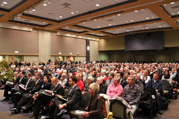 About 500 people turned out to hear the latest proposal for the Children's Memorial development Tuesday night.