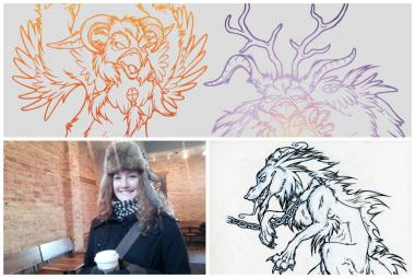 Excerpts of sketches Dana Larson has inked while drawing in area cafes. When Larson found out that La Colombe does not have Wi-Fi Internet access, she said she plans to bring her sketchbook there.