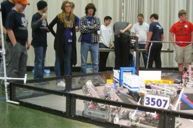 The Francis W. Parker robot (3507) in action at a regional tournament at the Illinois Institute of Technology