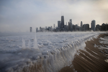 Ice built up along Lake Michigan at North Avenue Beach as temperatures dipped well below zero on Jan. 6.