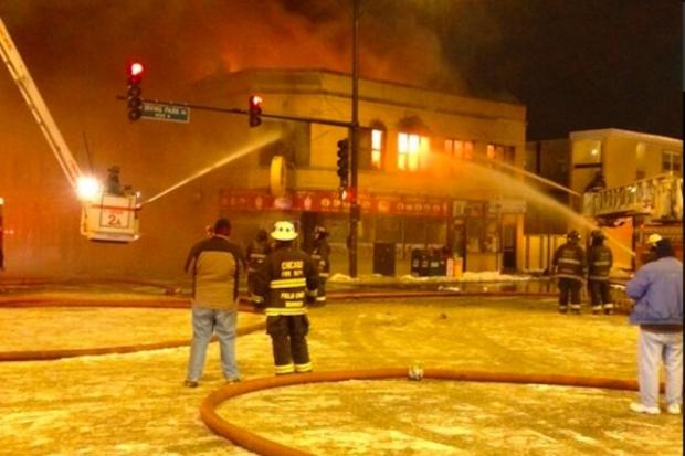 Nine apartments and two restaurants were destroyed in the Sunday night blaze.