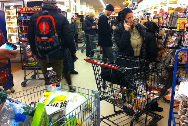 Anticipation of cold and snowy weather saw long lines and dwindling produce at Wicker Park's Jewel-Osco.