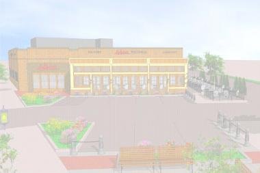 A preliminary rendering of revised plans for Lou Malnati's in North Center.