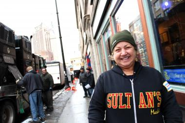"Masada Ramli, owner of Sultan's Market, said she didn't  mind that film crews parked in front of her restaurant for ""Chicago PD"" filming. ""Anything for Chicago,"" Ramli said."