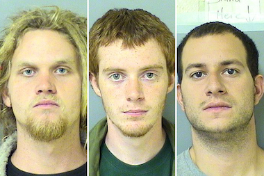 Three activists, Brent Betterly (l.), Brian Church and Jared Chase, were sentenced Friday.