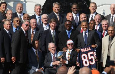 President Obama is seen with members of the 1985 Chicago Bears in this file photo from 2011.
