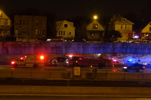 A pregnant woman was among three people shot while driving on the Dan Ryan Expressway Saturday morning.