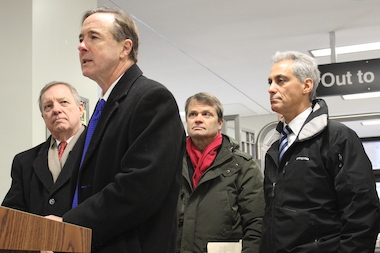 U.S. Sen. Dick Durbin, CTA President Forrest Claypool, U.S. Rep. Mike Quigley and Mayor Rahm Emanuel all  lined up to make a claim for federal funding.