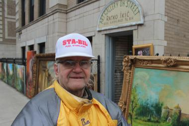 For years, Serbian immigrant Ratko Ikic has used the sidewalk in front of his apartment building on Ashland Avenue in Lakeview as an art gallery.