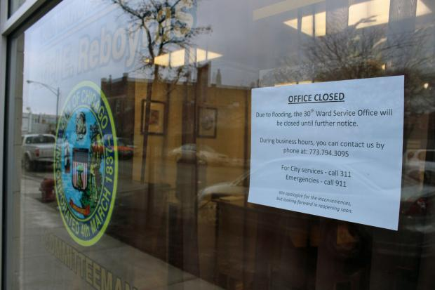 Ald. Ariel Reboyras' (30th) neighborhood office is closed after a pipe burst and flooded it.
