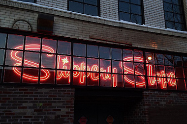 Slippery Slope's neon sign at 2357 N. Milwaukee Ave.