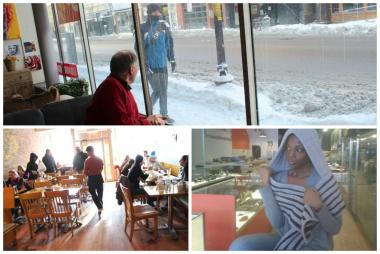 Not surprisingly, sales were dismal at several local businesses and shops Monday. The freezing weather kept most people at home.