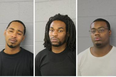 Frederick Young, 28, (from l.), John D. Luckett, 26, and Jeremie Bolden, 26, are charged with felony burglary in connection with a railroad car break-in in Little Village.