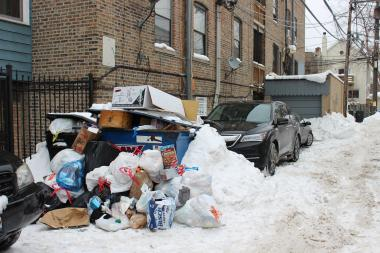 Lakeview's Monday trash day was missed due to extreme weather, leaving pile-ups at some residences.