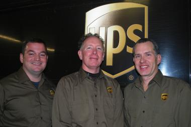 UPS drivers Daniel Letourneau (from left), Jim Spears and Dwayne Davidson helped Norwood Park resident Nancy Heffernan after a devastating accident on an Indiana expressway. All three said they were amazed Heffernan survived the crash, let alone suffered only minor injuries.