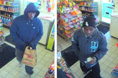 Police are looking for two men who robbed a Beverly gas station at knifepoint Monday, according to a police alert.